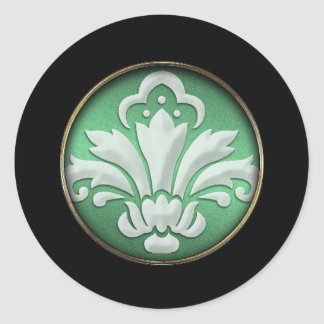 White Damask Green Shimmer Black Border Postage Classic Round Sticker