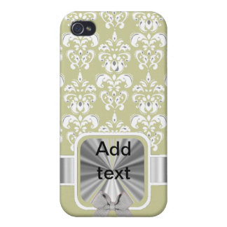 white damask on any color cover for iPhone 4