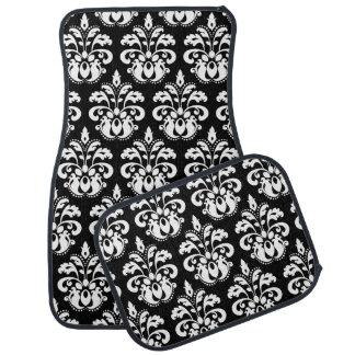 White damask on black car mat