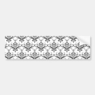 White damask pattern bumper sticker