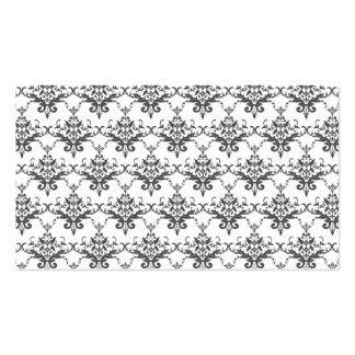 White damask pattern business cards