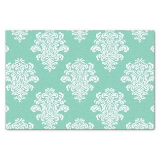 White Damask Pattern on Aqua Tissue Paper