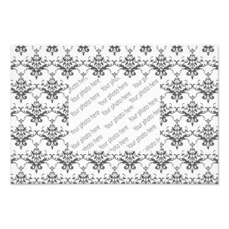 White damask pattern photographic print