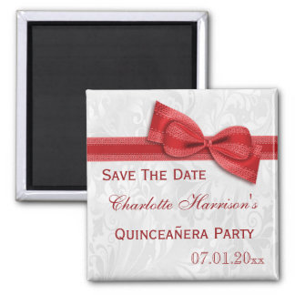 White Damask & Red Bow Quinceañera Save The Date Square Magnet
