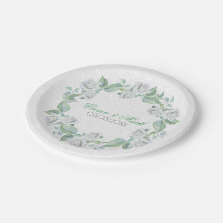 White Damask & Roses- Save The Date Paper Plate