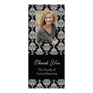 White Damask Sympathy Thank You Photo Card
