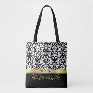 White Damask Tote Bag