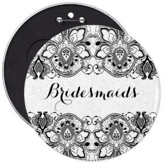 White Damasks & Black Lace Bridesmaids Button 2