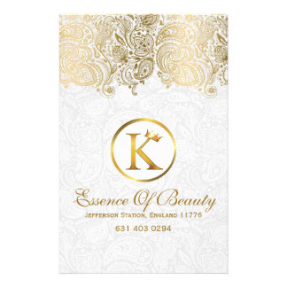 White Damasks & Gold Paisley Lace 14 Cm X 21.5 Cm Flyer