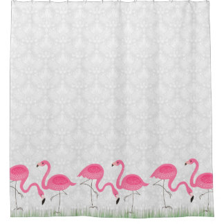 White Damasks & Pink Flamingos Illustration Shower Curtain