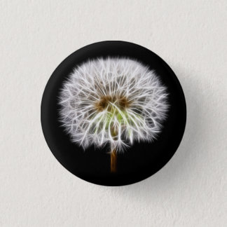 White Dandelion Flower Plant 3 Cm Round Badge