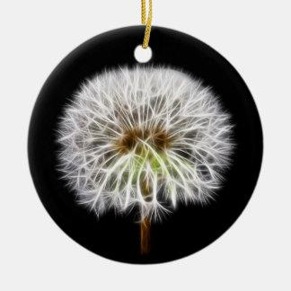 White Dandelion Flower Plant Christmas Ornament