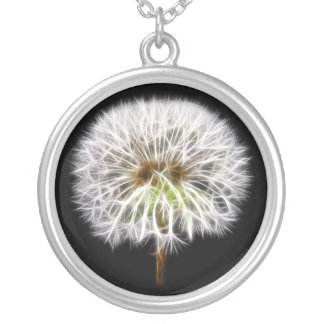 White Dandelion Flower Plant Silver Plated Necklace
