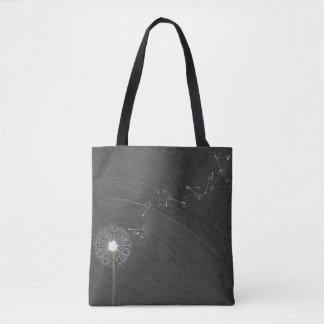 white dandelion on chalkboard background tote bag