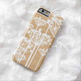 White Dandelions on Faux Wood iPhone 6 Case