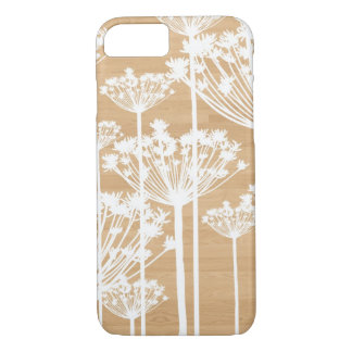 White Dandelions on Faux Wood iPhone 7 Case