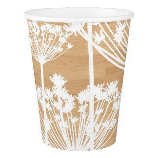 White Dandelions Pattern on Faux Wood Rustic