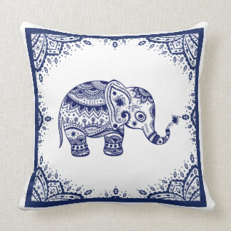 White & Dark Blue Floral Paisley & Elephant Throw Pillow