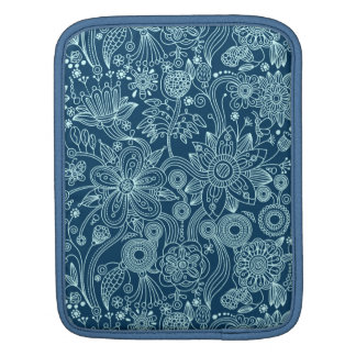 White & Dark Blue Retro Floral Pattern iPad Sleeve