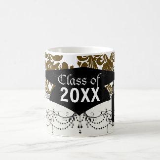 white dark brown elegant damask graduation mug