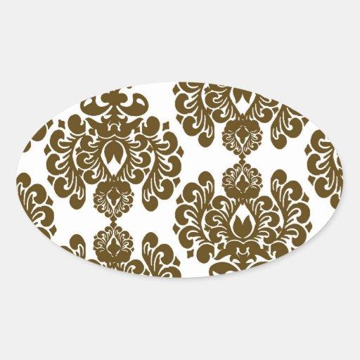 white dark brown elegant damask sticker