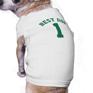 White & Dark Green Pets   Dog Sports Jersey Design Sleeveless Dog Shirt