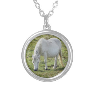 White Dartmoor Pony Grazeing Summer Silver Plated Necklace