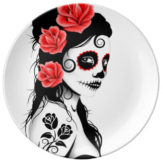 White Day of the Dead Sugar Skull Girl Plate