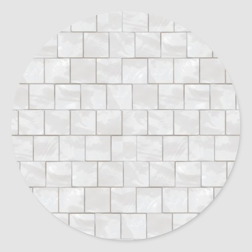 White Decorative Marble Tile Background Round Stickers
