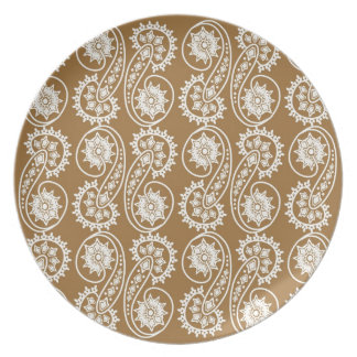 White Decorative Paisley Pattern On Brown Plate