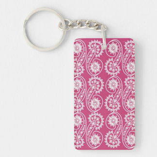White Decorative Paisley Pattern On Pink Key Ring