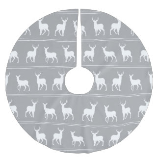 White Deer and Stag pattern on Grey Brushed Polyester Tree Skirt