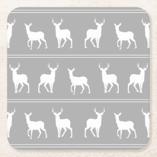 White Deer and Stag pattern on Grey Square Paper Coaster