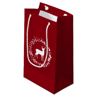 White deer and stars Christmas gift bag
