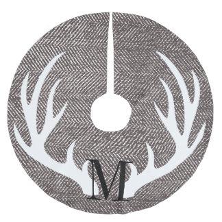 White Deer Antlers Brown Herringbone-Personalized Brushed Polyester Tree Skirt