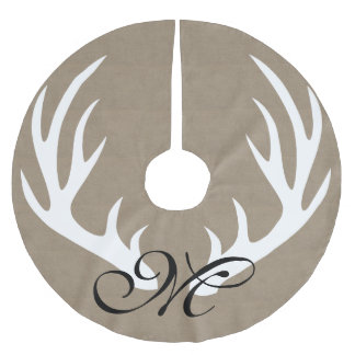 White Deer Antlers Faux Burlap Monogram Tree Skirt Brushed Polyester Tree Skirt