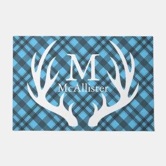 White Deer Antlers Grey Tartan Plaid Personalized Doormat