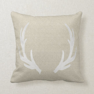 White Deer Antlers Pillow