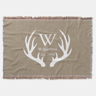 White Deer Buck Antlers Country Family Name