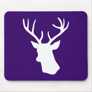 White Deer Head Silhouette - Dark Purple Mouse Pad