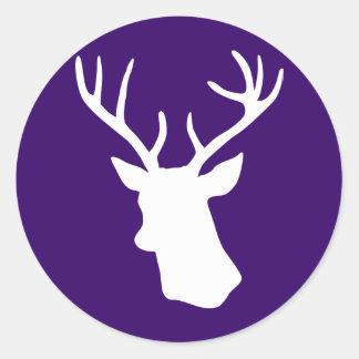 White Deer Head Silhouette - Dark Purple Round Stickers