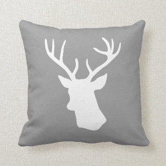White Deer Head Silhouette - Gray Cushion