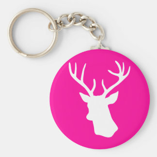 White Deer Head Silhouette - hot pink Basic Round Button Key Ring