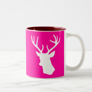 White Deer Head Silhouette - hot pink Two-Tone Coffee Mug