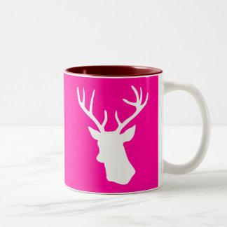 White Deer Head Silhouette - hot pink Two-Tone Mug