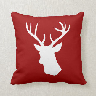 White Deer Head Silhouette on Red Cushion
