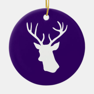 White Deer Head Silhouette - Purple Christmas Ornament