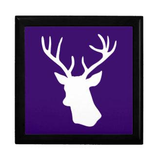 White Deer Head Silhouette - Purple Gift Box