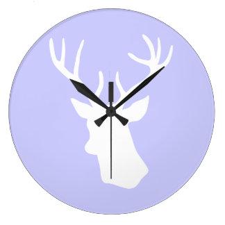 White Deer Head Silhouette - Purple Large Clock