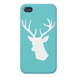 White Deer Head Silhouette - Turquoise iPhone 4/4S Case